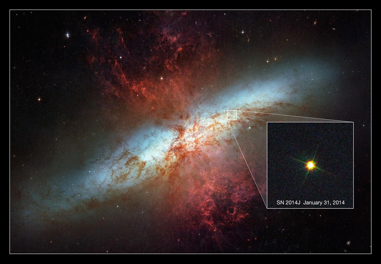 Сверхновая SN 2014J в галактике Мессье 82