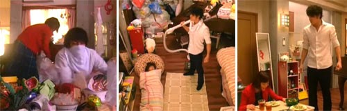 Chiaki going through Nodame's mess / Chiaki holding the vacuum / Chiaki serving Nodame dinner