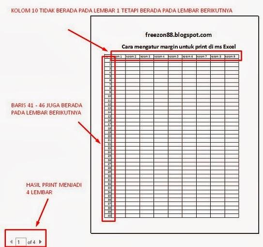 mengatur ukuran margin untuk print di ms excel