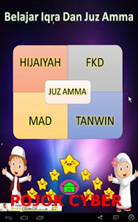 """Tampilan jendela utama dari aplikasi """"Belajar Iqra dan Juzz Amma v1.0.5"""""""