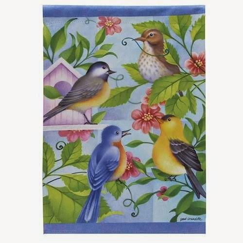 bird quartet garden flag