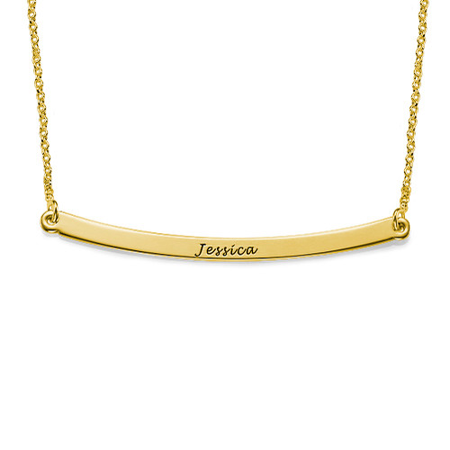 Horizontal 18k Plated Gold Bar Necklace