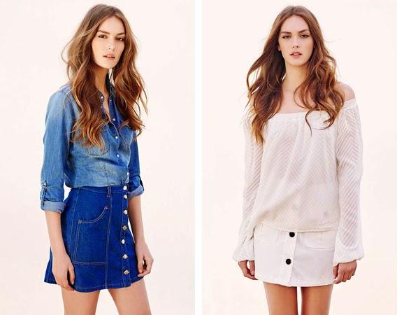 Stradivarius moda primavera verano falda denim botones y camisa vaquera