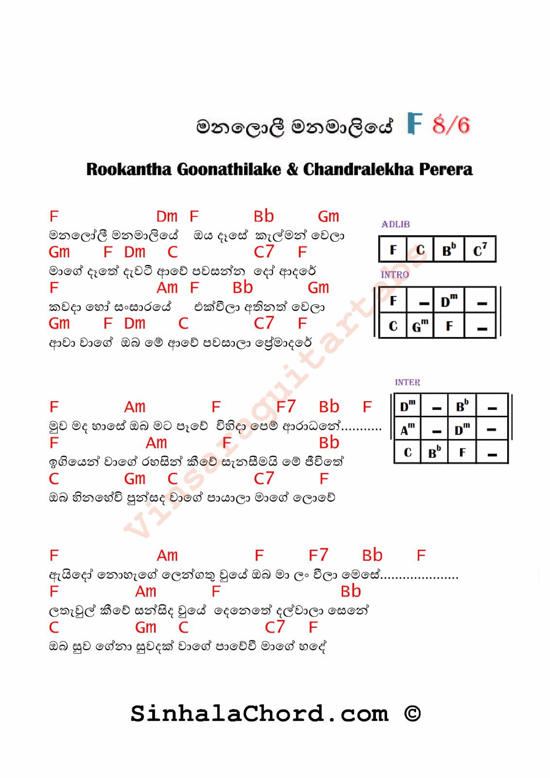 Manaloli Manamaliye Guitar Chords with Lyrics - Sinhala Guitar Lessons with Tabs and Chords