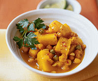 Braised Celery Root with Chickpeas and Saffron