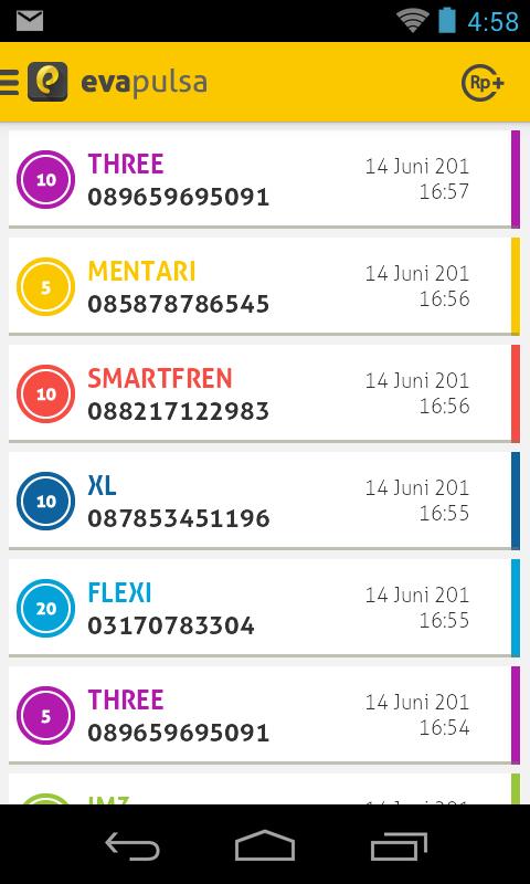 history penjualan pulsa di aplikasi android evapulsa