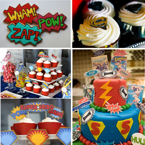 Superhero wedding desserts, cupcakes, wedding cake and cookies