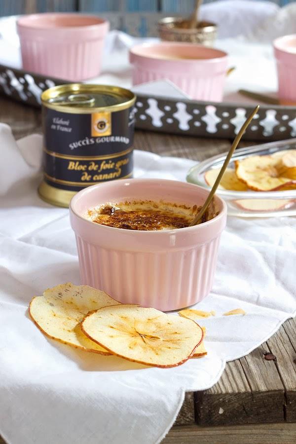 Cremè brûleé de foie con chips de manzana
