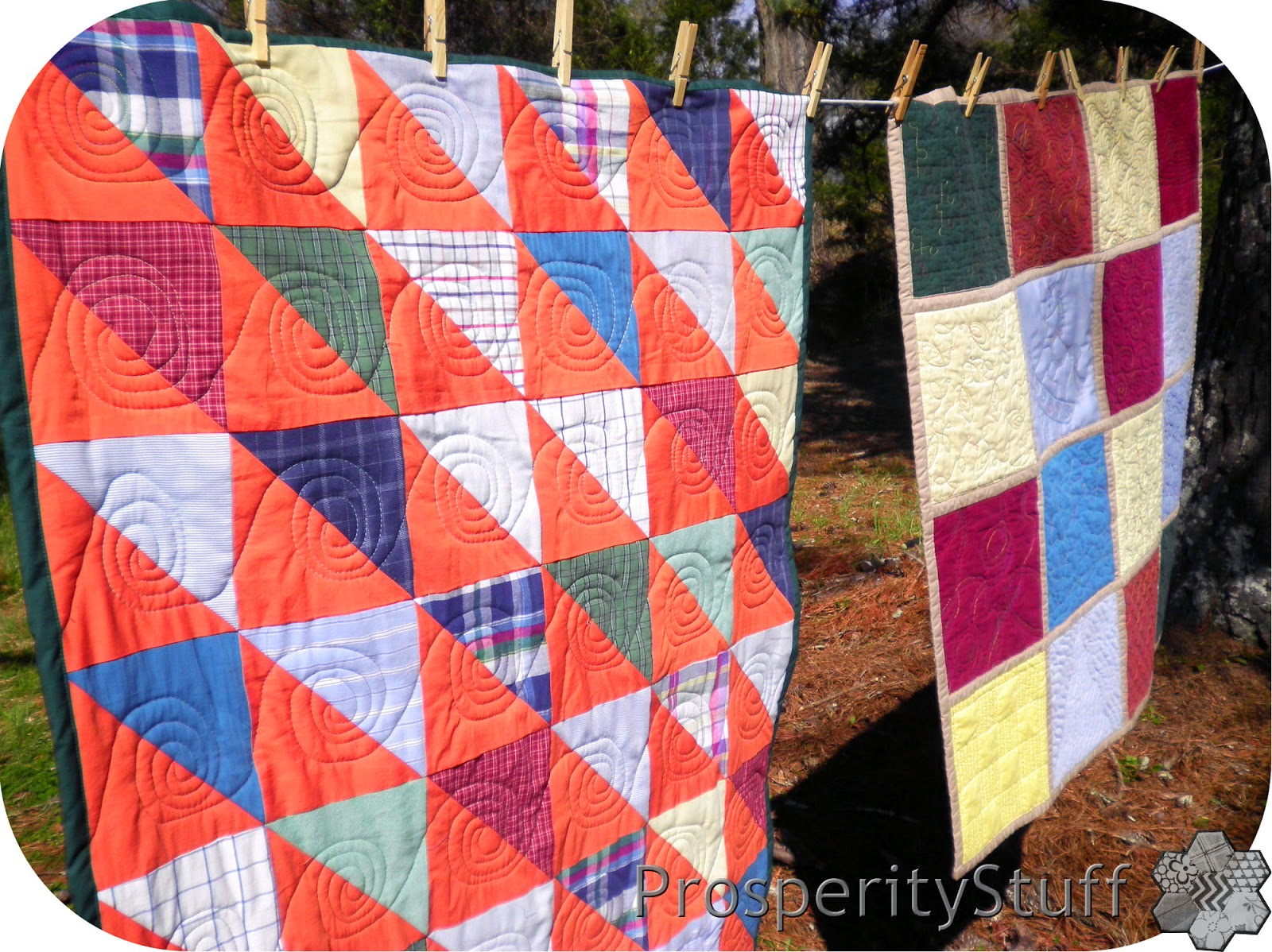 ProsperityStuff Shirts-and-Sheets Quilts on Clothesline