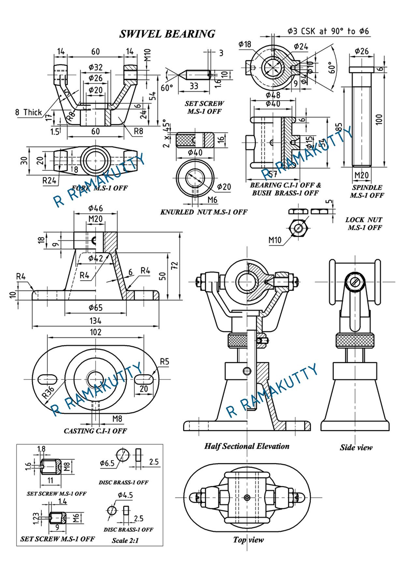 Bearing Puller Assembly Drawing : Machine drawing swivel bearing