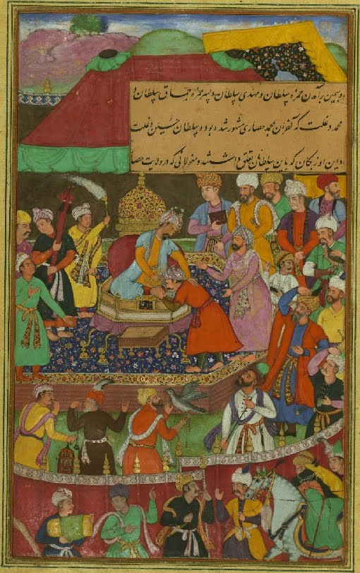 Islamic manuscript miniature of Sultan receiving guests; falconry