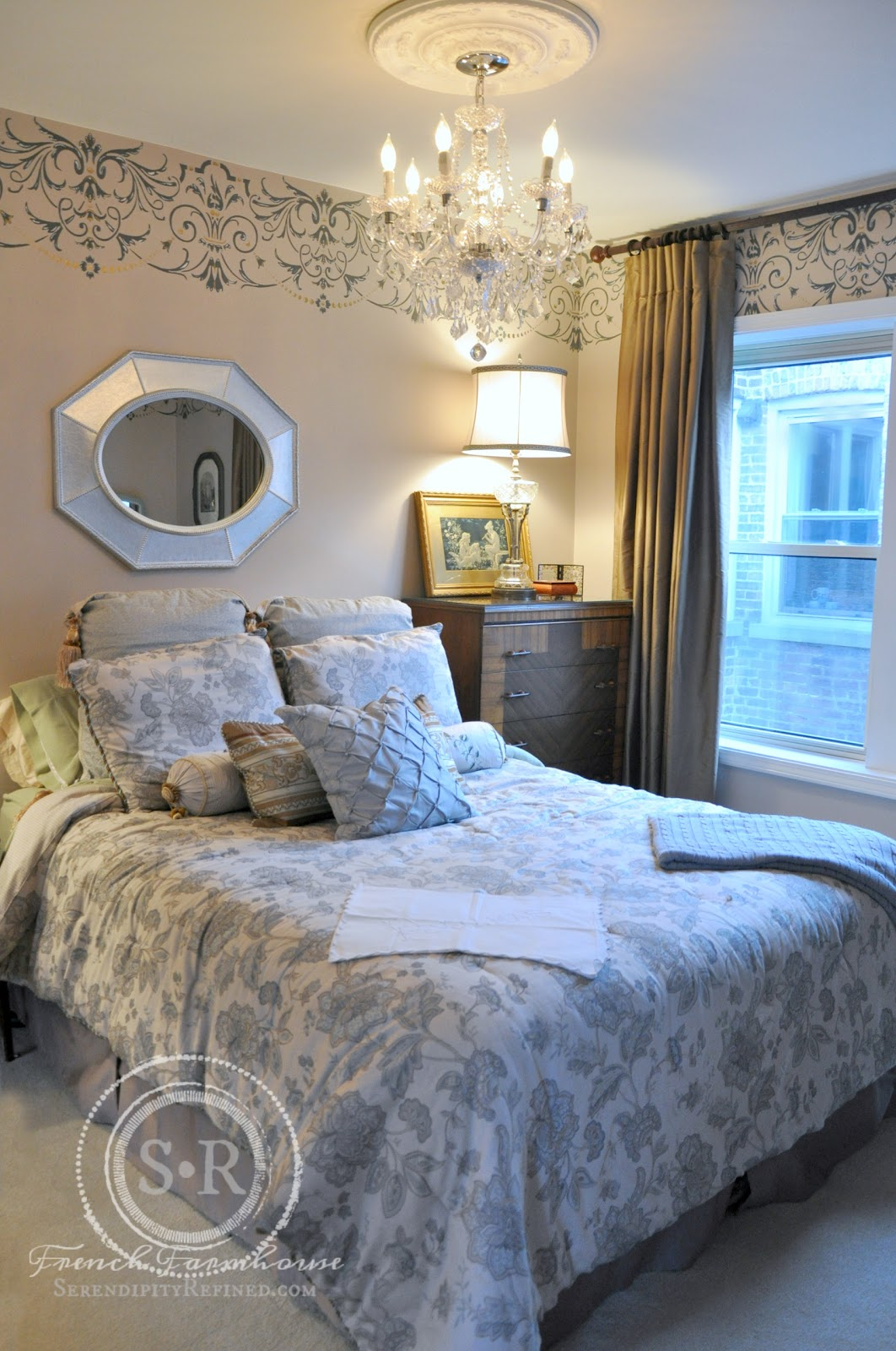 serendipity refined blog: gold and gray stenciled bedroom