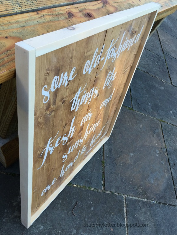 framed planked sign