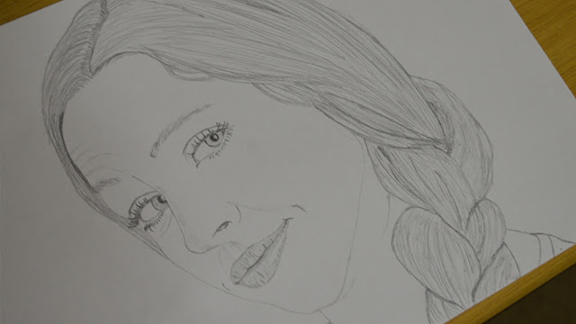 Girl face drawing - step 2