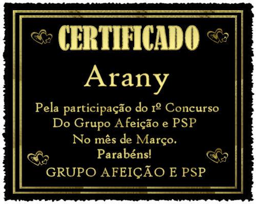 Certificado do 1º Concurso do Grupo Afeição