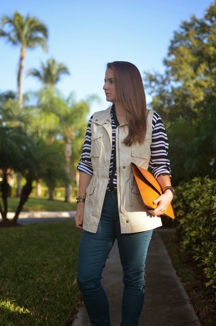 utility vest - portofino shirt - coated jeans - Emma & Sophia - envelope clutch