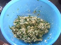 Parmesan pesto ingredients Tupperware blue bowl mixing