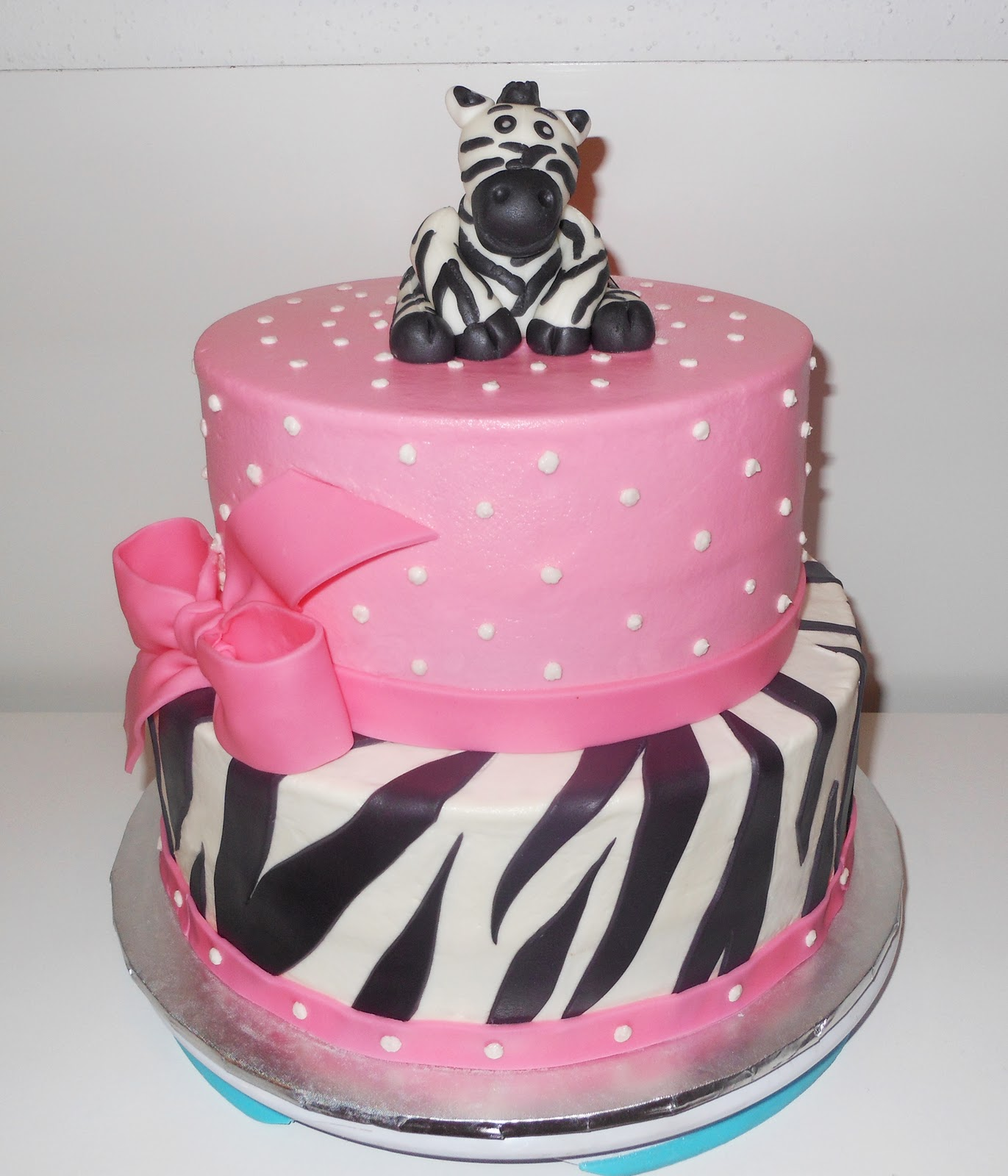 sweet pink zebra cake that i made for a baby shower the zebra topper