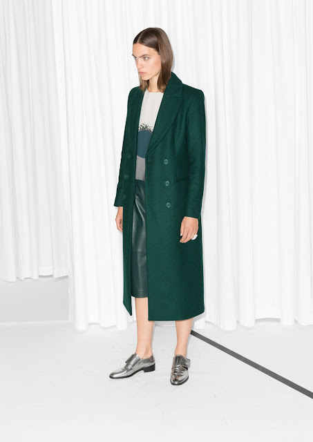 green stories coat, green long coat,