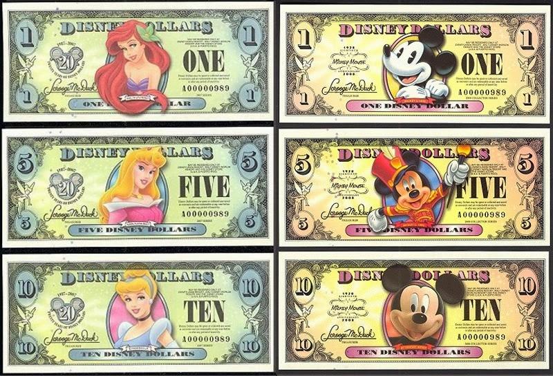 Disney Dollar - o dinheiro da Disney
