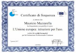 """Certificato di Frequenza """"L'Unione Europea: Istruzioni per l'uso"""""""
