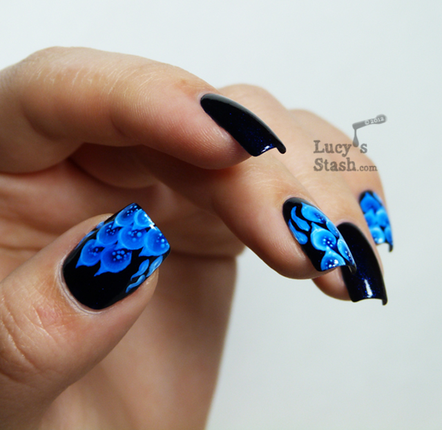Blue fire one stroke nail art with Pretty Serious Hot Summer Nights ...