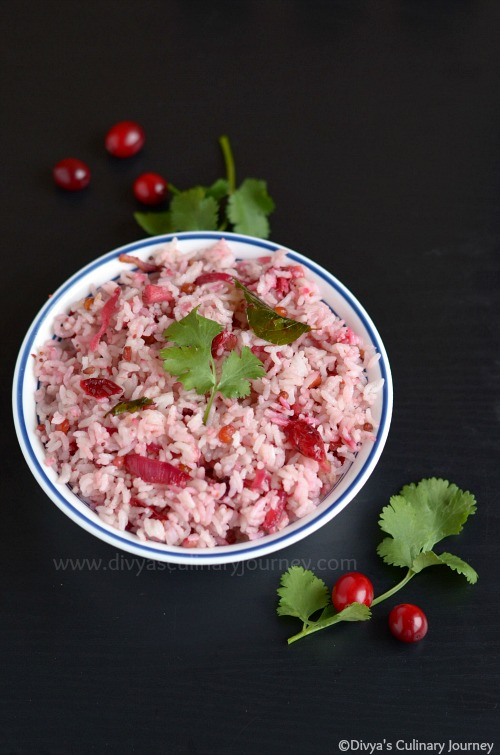 Spicy Cranberry Rice made with fresh cranberries