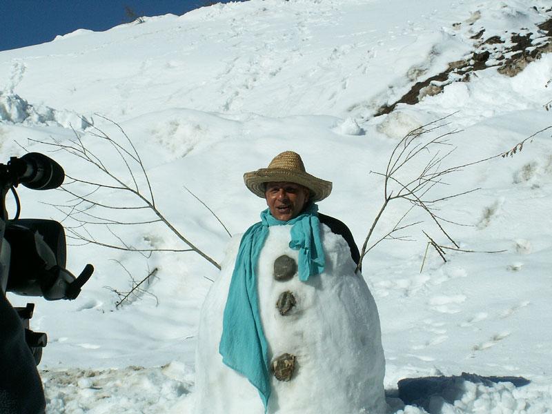 Bastien sur le tournage du clip bonhomme de neige