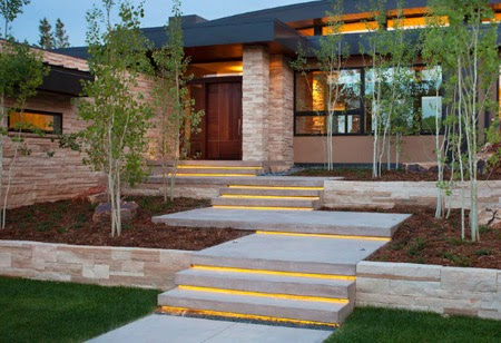 outdoor stairs design with stair lighting, stone stairs