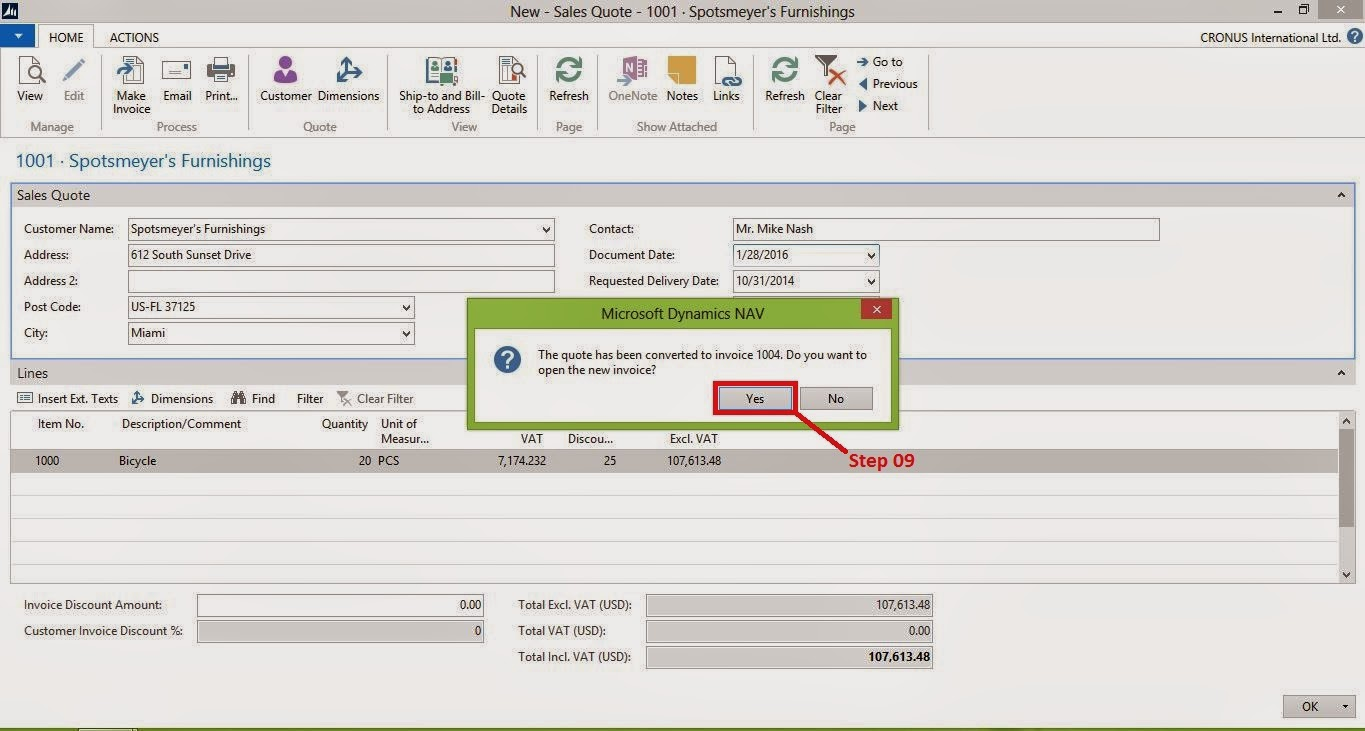create a s invoice from a s quote microsoft dynamics nav once the invoice created system will prompt a message saying do you want to open the created new invoice click yes
