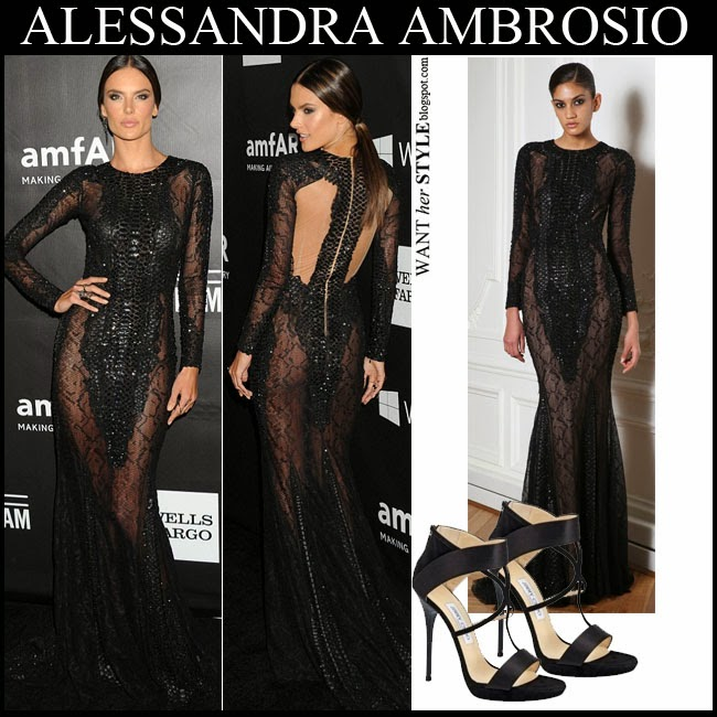 Alessandra Ambrosio in black embellished sheer gown by Zuhair Murad with black sandals amfAR Gala october 29 red carpet