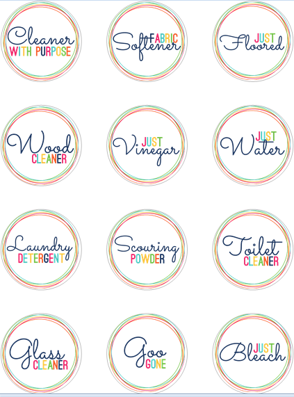 download homemade cleaner labels FREE here - please note that the ...