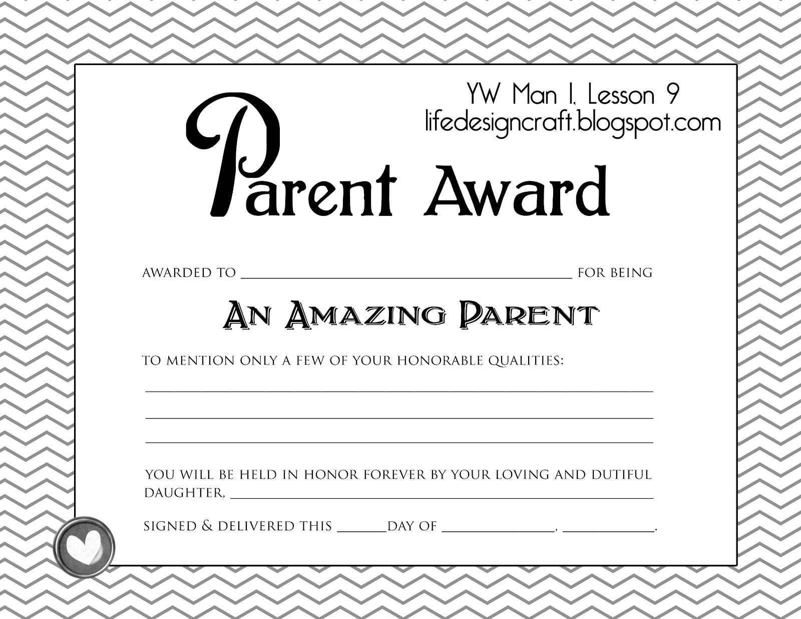 parent volunteer certificate templates