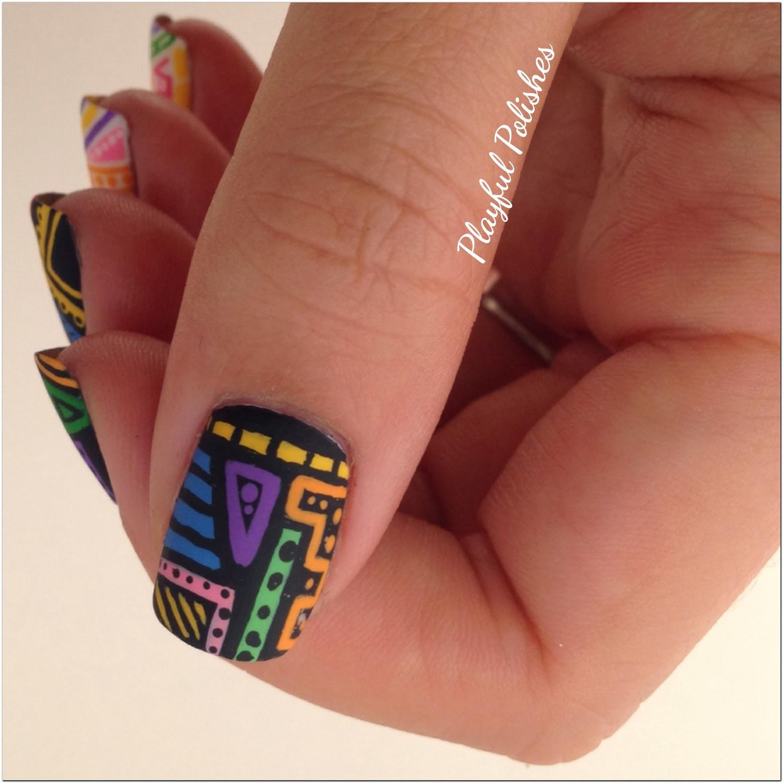 Playful Polishes June Nail Art Challenge Ocean Nails: Playful Polishes: 31 DAY NAIL ART CHALLENGE: TRIBAL NAILS