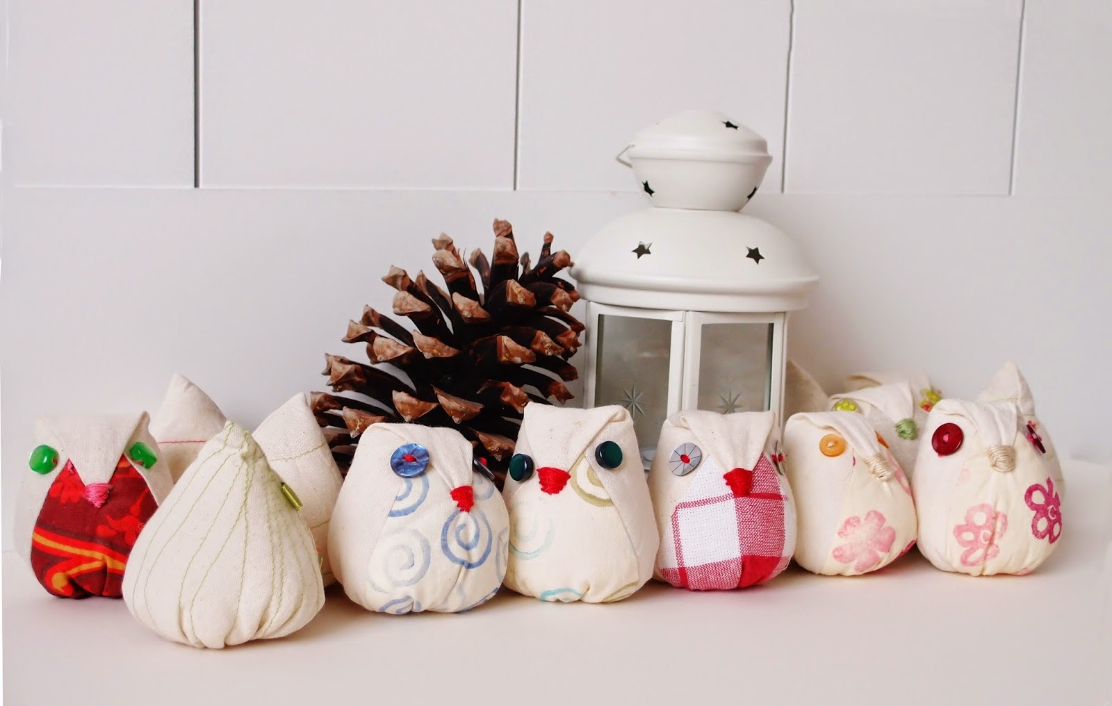 Mini owl doll softies - White Christmas collection