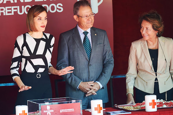 Queen Letizia of Spain attends the Red Cross Fundraising Day at the Congress of Deputies on Little Flag Day