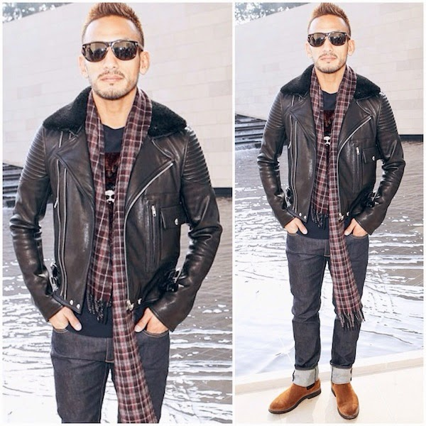 Hidetoshi Nakata 中田英寿 wears GIVENCHY SHEARLING-TRIMMED LEATHER BIKER JACKET