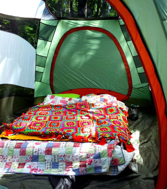 home sweet home in our tent at minneopa state park during i can camp