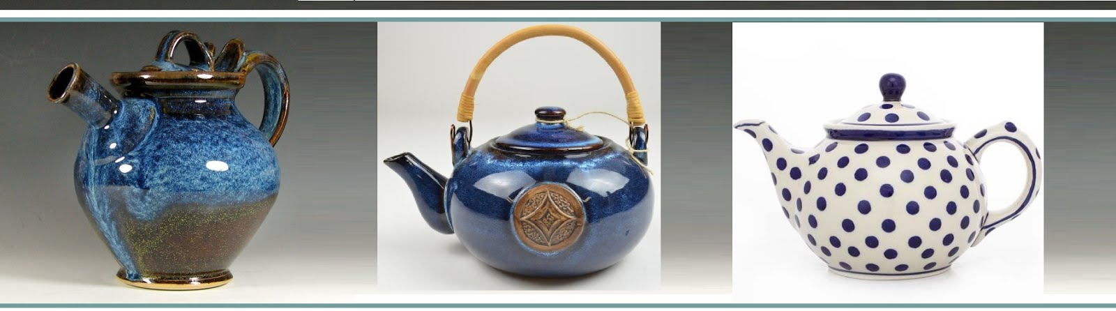 BLUE POTTERY TEAPOTS