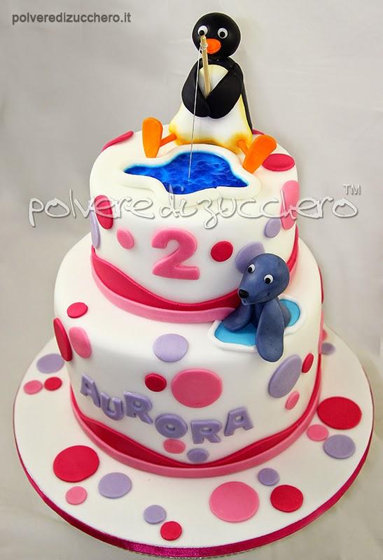 torta in pasta di zucchero: pingu il pinguino e robby la foca e come realizzare l'effetto acqua
