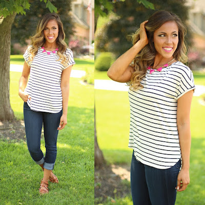 Black and White Striped Top from Flourish Boutique
