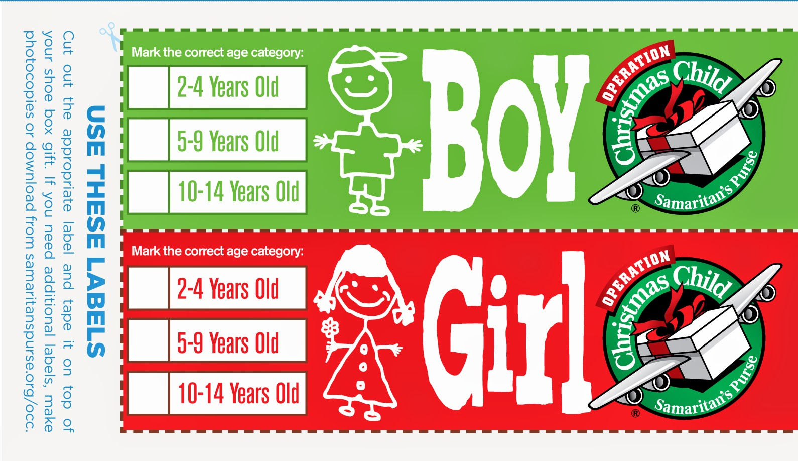 Operation christmas child labels ez giveaway