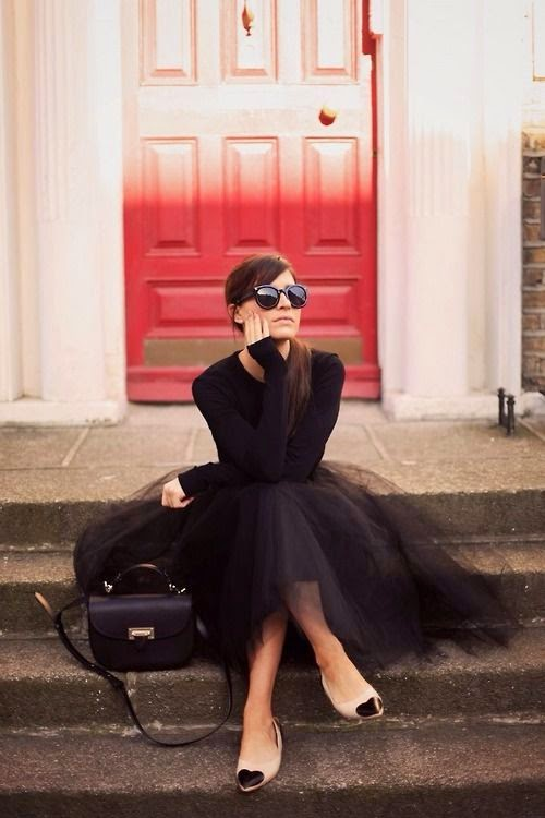 Parisian Chic in Black Sweater and Tulle Skirt