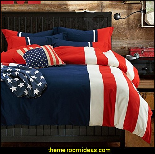 American Flag Bedding Set Modern Blue Red Striped Bedding Set