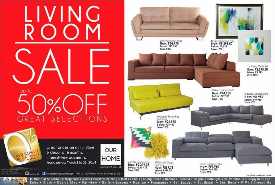 Manila shopper sm homeworld furniture our home living room sale mar 2014 Home furniture sm philippines