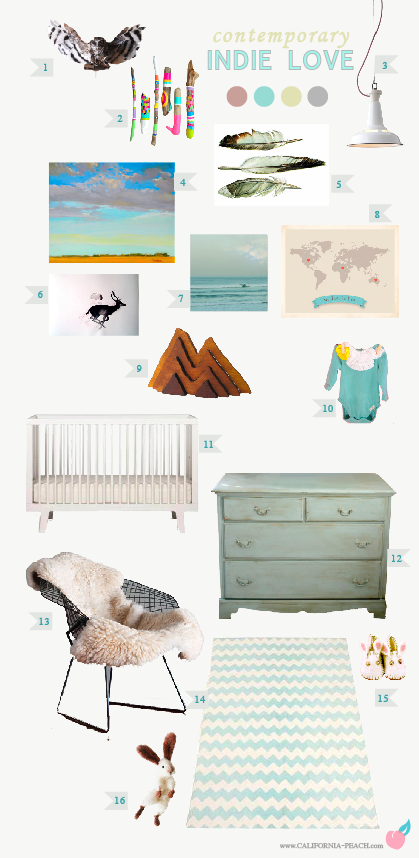 Indie Love for a Girl | Baby Room Nursery Style Board