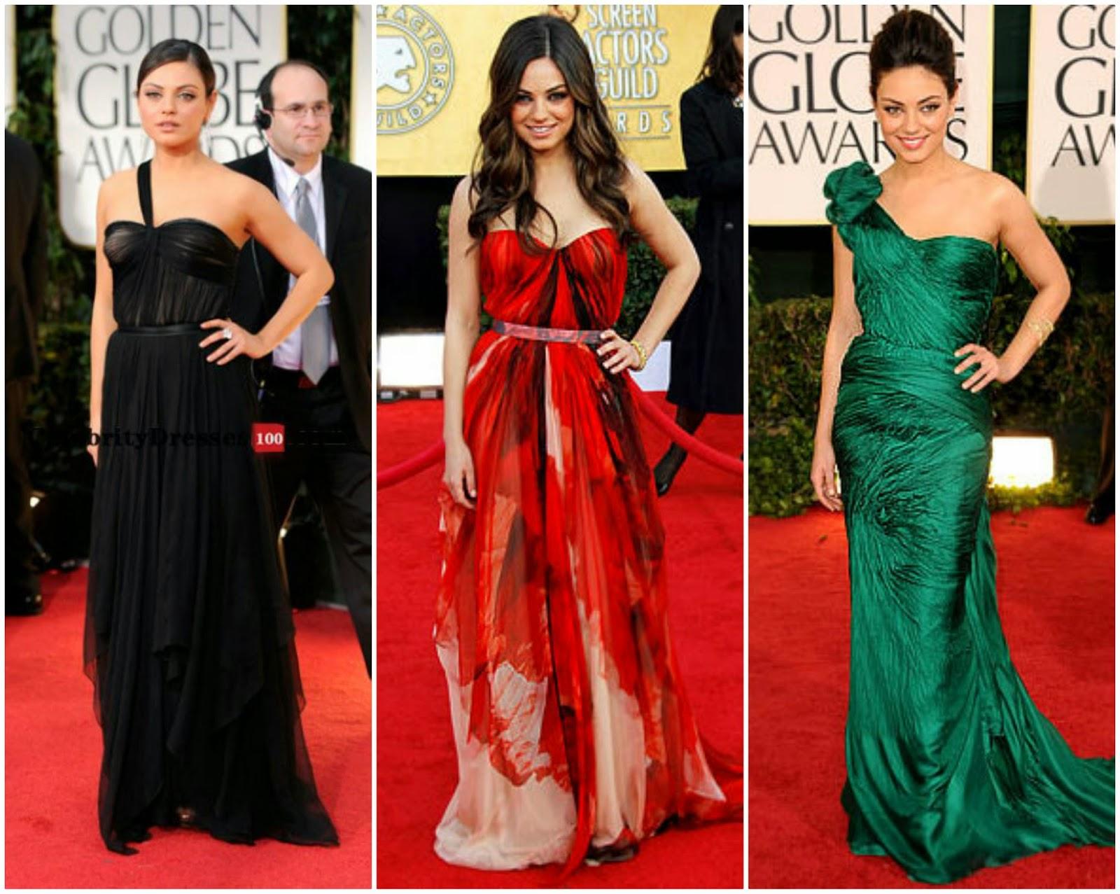 Mila kunis red carpet dresses