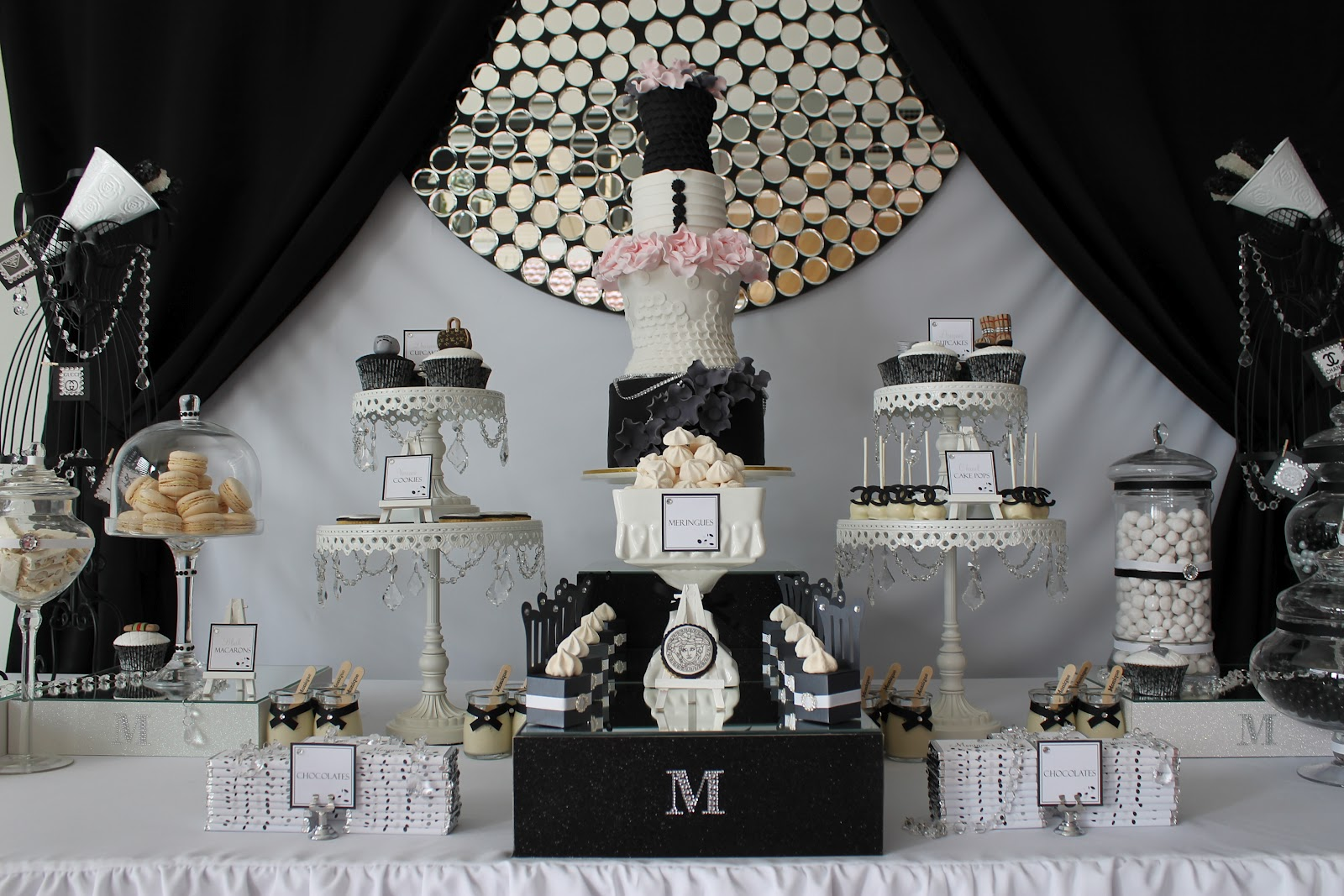 Birthday party theme black and white image inspiration for All white party decoration ideas