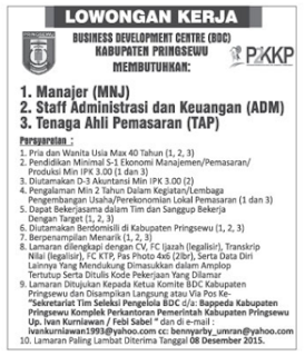 OPEN RECRUITMENT Business Development Centre (BDC) Kabupaten Pringsewu