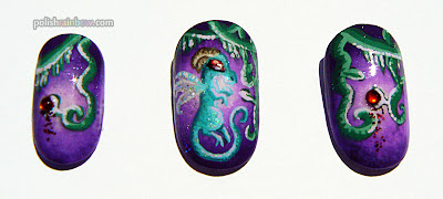 NAILgasm documentary nails from Polish Rainbow. Fairy dragons and vines.